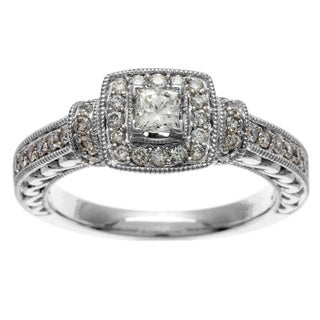 Sofia 14k White Gold Certified 3/4ct TDW Certified Diamond Engagement Ring (H-I, I1-I2)