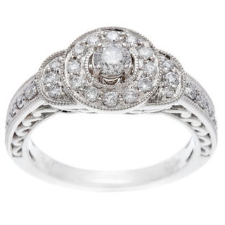 14k White Gold 3/4ct TDW Certified Diamond Engagement Ring (H-I, I1-I2)