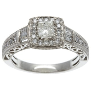 14k White Gold 3/4ct TDW Certified Diamond Engagement Ring (HI I1-I2)