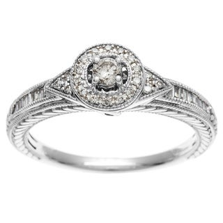 10k White Gold 1/4ct TDW Halo Round and Baguette Diamond Ring (I, I2)
