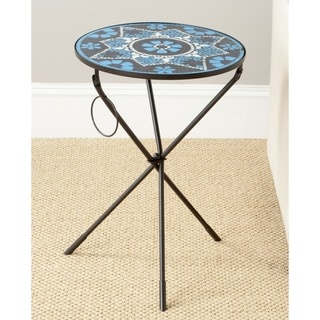 Safavieh Solinus Blue/ White Glass Side Table