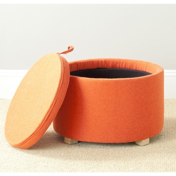 Safavieh Nevan Burnt Storage Orange Oak Ottoman