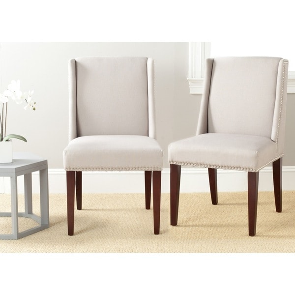 Safavieh En Vogue Dining Humphry Taupe Linen Side Chairs (Set of 2)