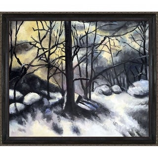 Paul Cezanne 'Melting Snow, Fontainebleau' Hand Painted Framed Canvas Art