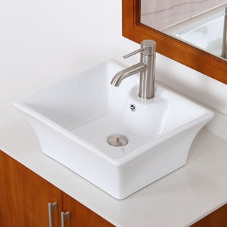 Elite 4049F371024BN High-temperature Grade-A Square Ceramic Bathroom Sink and Brushed Nickel Faucet Combo