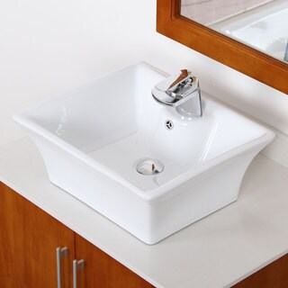 Elite 40498802C High-temperature Grade-A Square Ceramic Bathroom Sink and Chrome Finish Faucet Combo