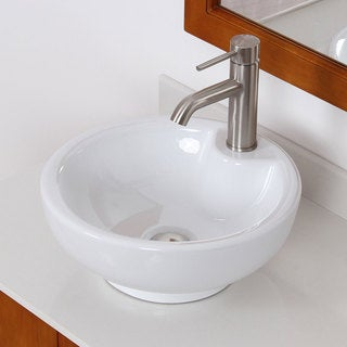 Elite 4074F371024BN High-temperature Grade-A Round Ceramic Bathroom Sink and Brushed Nickel Faucet Combo
