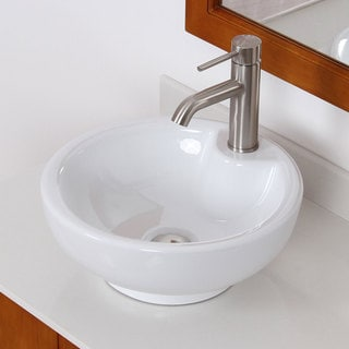 Round Vitreous China Bathroom Vessel Sink 13844087