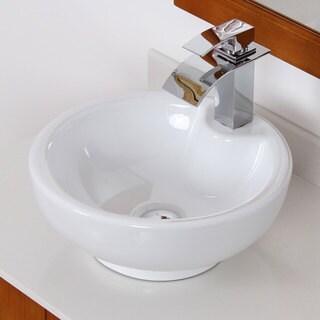 Elite 40748803C High-temperature Grade-A Round Ceramic Bathroom Sink and Chrome Finish Faucet Combo