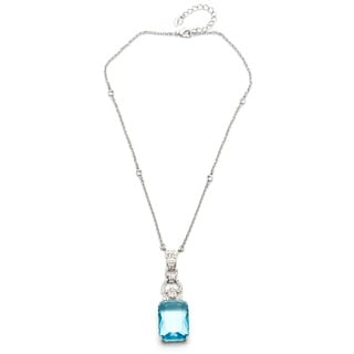 Carolee Silvertone Rectangle-cut Aqua Mist Gemstone Necklace