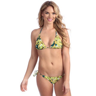 Women's Yellow Banana Print String Bikini Set