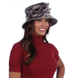 Swan Women's Velvet Satin Band and Feathers Packable Hat