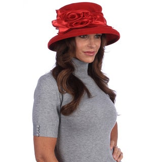 Swan Women's Red Satin and Velvet Packable Hat