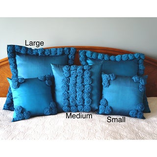 Thai Silk Blue Rosette Pillow (Thailand)
