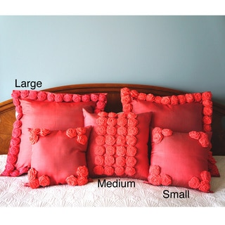 Thai Silk Coral Rosette Pillow (Thailand)