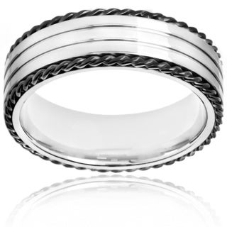 Two-tone Stainless Steel Twisted Rope and Grooved Band