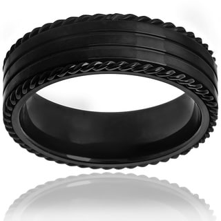 Black-plated Stainless Steel Twisted Rope and Grooved Ring