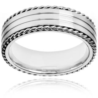 Crucible Polished Stainless Steel Rope Border Grooved Comfort Fit Ring - 7mm Wide