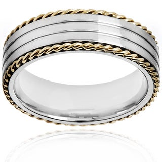 Two-tone Stainless Steel Twisted Rope and Grooved Ring