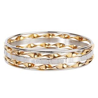 ELYA Stainless Steel Roman Numeral Bangle Bracelet