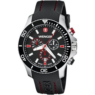 Wenger Men's Sea Force Chrono Black Dial Red Accent Diver Watch - 0643.102