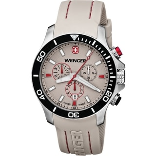 Wenger Men's Sea Force Chrono Grey Dial Red Accent Diver Watch - 0643.105