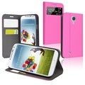 BasAcc Hot Pink Leather Case with Stand for Samsung� Galaxy S IV / S4