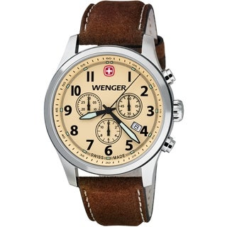 Wenger Men's TerraGraph Chrono Eggshell Dial Brown Leather Watch  0543.105
