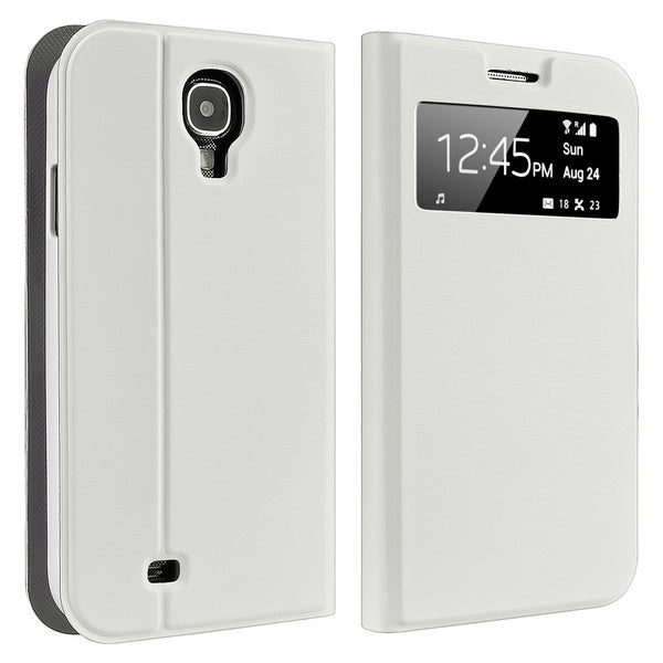INSTEN White Leather Phone Case Cover with Stand for Samsung Galaxy S IV / S4