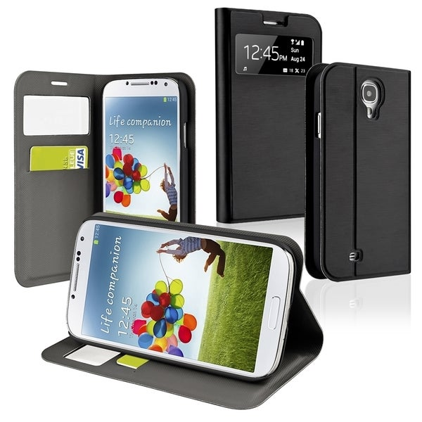 INSTEN Black Leather Phone Case Cover with Stand for Samsung Galaxy S IV / S4
