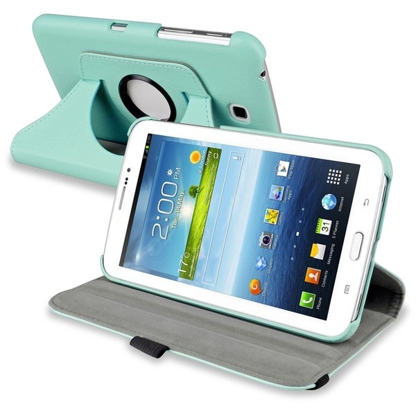 INSTEN Baby Blue Swivel Leather Tablet Case Cover for Samsung Galaxy Tab 3 7.0