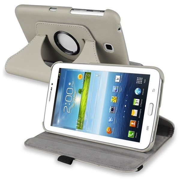 INSTEN Grey Swivel Leather Tablet Case Cover for Samsung Galaxy Tab 3 7.0