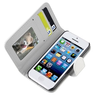 BasAcc White Wallet Leather Case with Stand for Apple iPhone 5C