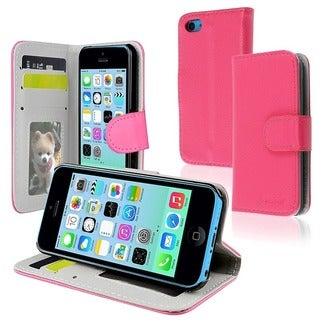 INSTEN White Wallet Leather Phone Case Cover with Stand for Apple iPhone 5C