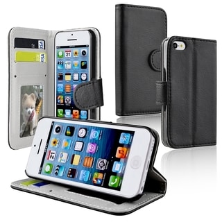 BasAcc Black Wallet Leather Case with Stand for Apple iPhone 5C
