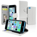 INSTEN Black Wallet Leather Phone Case Cover with Stand for Apple iPhone 5C