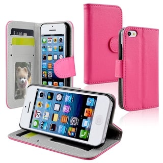 INSTEN Hot Pink Wallet Leather Phone Case Cover with Stand for Apple iPhone 5C