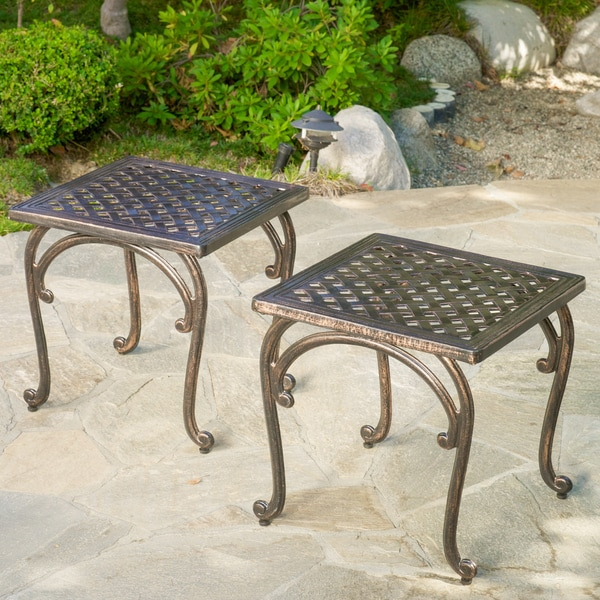 christopher knight home mckinley cast outdoor end table set of 2