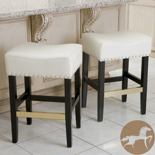 Christopher Knight Home Louigi Ivory Leather Backless Counter Stools (Set of 2)