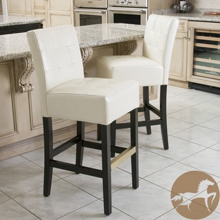 Christopher Knight Home Macbeth Ivory Leather Bar Stools (Set of 2)