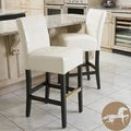 Christopher Knight Home Macbeth Ivory Leather Barstools (Set of 2)