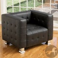 Christopher Knight Home McQueen Black Leather Tufted Club Chair
