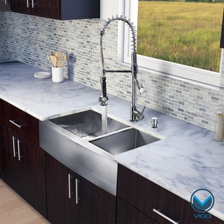 VIGO All-in-One 36-inch Farmhouse Stainless Steel Double Bowl Kitchen Sink/ Chrome Faucet Set