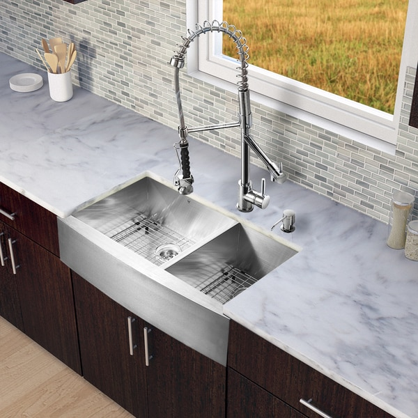 24 Inch Stainless Steel Farmhouse Sink : All-in-One 36-inch Farmhouse Stainless Steel Double Bowl Kitchen Sink ...