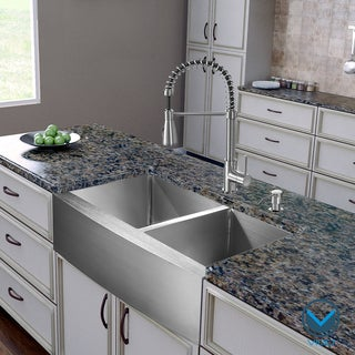 VIGO All-in-One 36-inch Farmhouse Stainless Steel Double Bowl Kitchen Sink/ Faucet Set