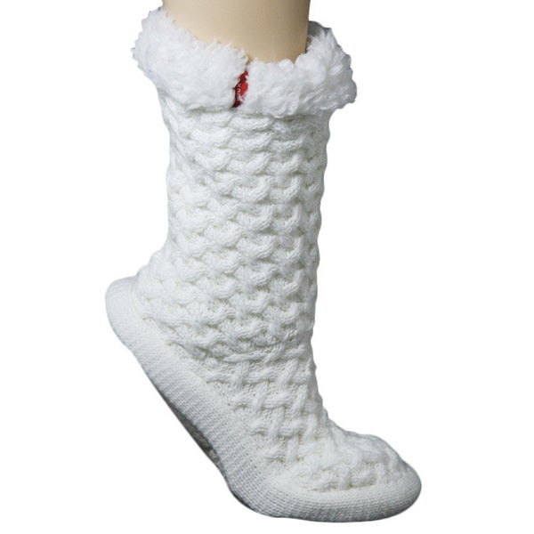 Women's Winter White Lounge Slipper Socks with Faux Fur Trim