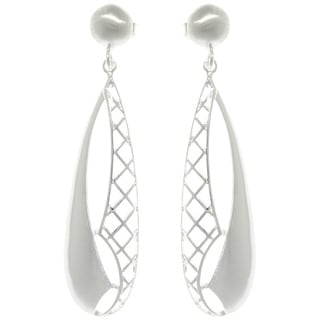 Carolina Glamour Collection Silver Criss-cross Teardrop Earrings