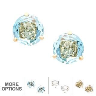 Kabella 14k Gold Blue or White Topaz Birthstone Briolette Stud Earrings