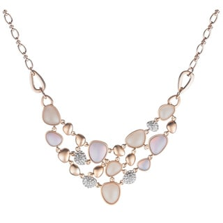 Roseplated Crystal and Opallete Statement Necklace