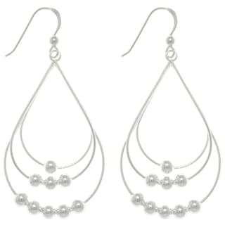 Carolina Glamour Collection Silver Beaded Teardrop Long Earrings